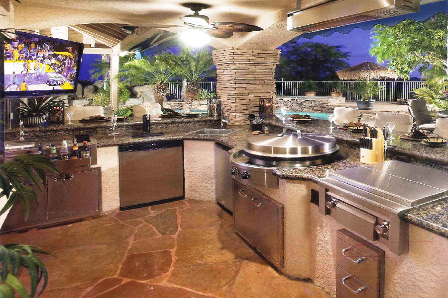 Outdoor and landscape iklo custom home builders for Luxury outdoor kitchen